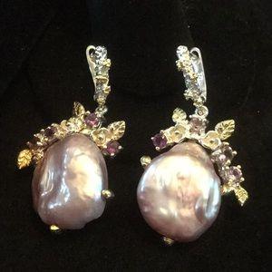 Genuine Lavender Baroque Pearl Gemstone Earrings